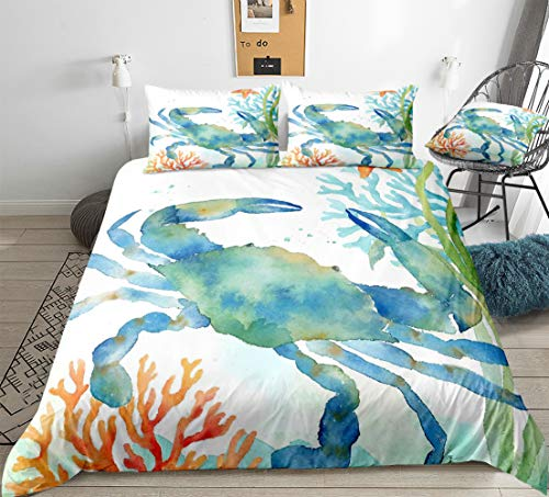 Crab Bedding Watercolor Ocean Duvet Cover Set Watercolor Sea Crab Themed Design Marine Animal Bedding Sets Queen 1 Duvet Cover 2 Pillowcases (Queen, Crab)