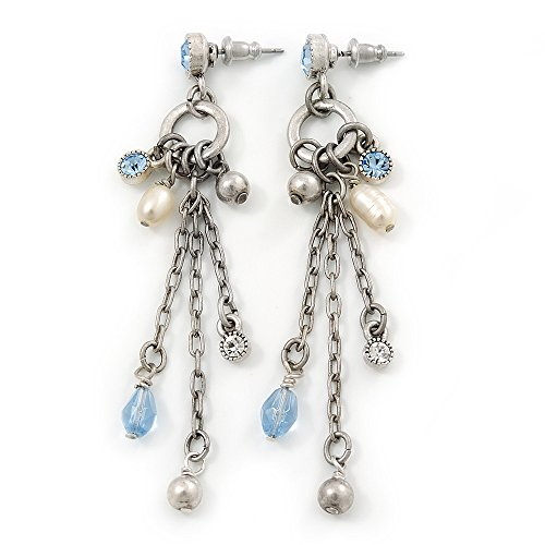 Vintage Inspired Freshwater Pearl, Light Blue Crystal Chain Tassel Drop Earrings In Silver Tone - 75mm L