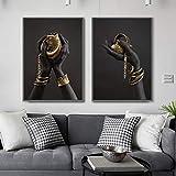 Arte de la pared Pintura de arte africano Mano de mujer negra con joyas de oro...