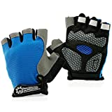 GEARONIC TM Cycling Workout Gloves Half Finger Mountain Bicycle Men Women Gel Pad Anti-Slip Breathable Outdoor Sports Shock-Absorbing Riding Biking Cycle Glove - Blue XL