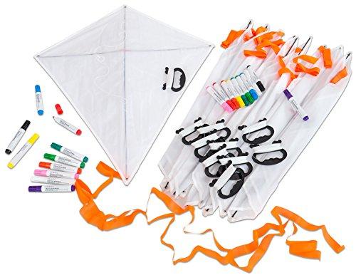 Betzold 55193 - Kinder-Bastelset Drachen - 10 Einleiner-Drachen (Blanko) inkl. Zubehör - Basteln Mitgebsel Kindergeburtstag