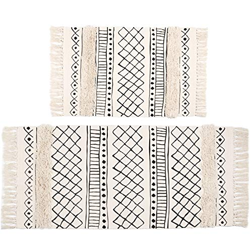 SHACOS Tufted Cotton Area Rugs Set of 2 Hand Woven Cotton Rug Runner Boho Rug with Tassels for...