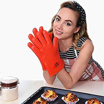 Premium Silicone Highest Rated Heat Resistant Gloves for BBQ, Grill, Oven Kitchen, Eco-friendly, 2 Sizes Available By Cook Elite