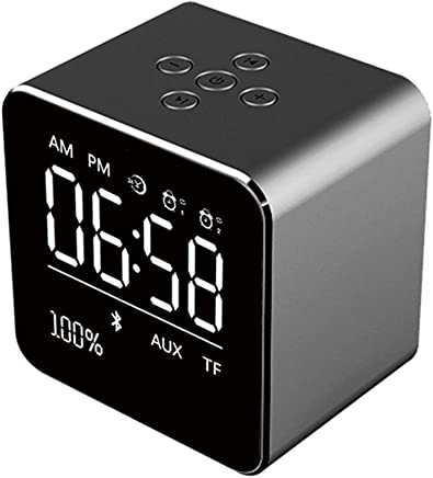 Altoparlanti portatili 2019 Square Mirror Mini Altoparlante Bluetooth Multifunzione Alarm Clock TF Card Cavo audio USB Display Wireless Speaker Multicolor (Color : Black) - Trova i prezzi più bassi