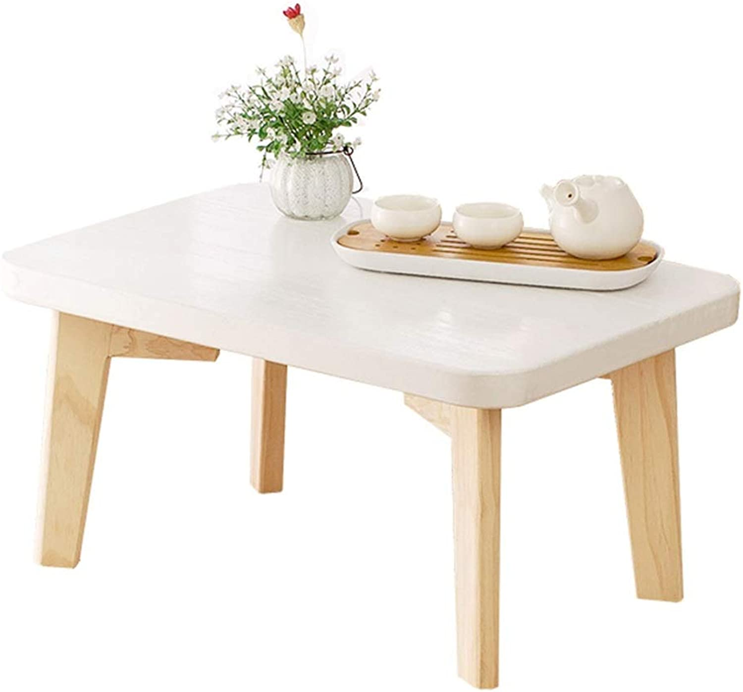 Solid Wood Small Coffee Table Living Room Bay Window Tatami Simple Short Side Table White (Size   50×40×30cm)