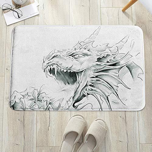 Alfombra de baño, Alfombrilla de baño de microfibra,Dragón, boceto de un personaje espiritual medieval Criatura mitológic, antideslizante, absorbente, lavable, para cuarto de baño, salón (60 x 100 cm)