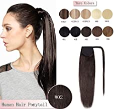 100% Remy Human Hair Ponytail Extension Wrap Around One Piece Hairpiece With Clip in Comb Binding Pony Tail Extension For Girl Lady Women Long Straight #2 Dark Brown 20'' 95g