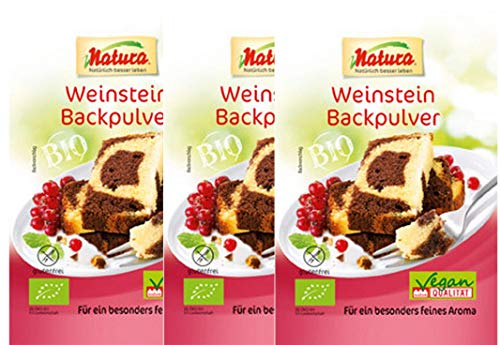 Natura - Bio-Weinstein-Backpulver -3 x 3er Pack (3 x 3 x 18g)