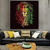 wZUN Gafas de Pintura de león impresión de Animales en Lienzo Pintura Sala de Estar decoración del hogar Cartel de Imagen de Arte de Pared 60x60 Sin Marco