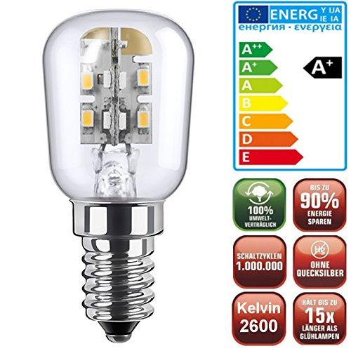 LED Kühlschranklampe Mini Energiesparlampe (E14, nur 1,7W, LED Lampe ohne Wärmeentwicklung)