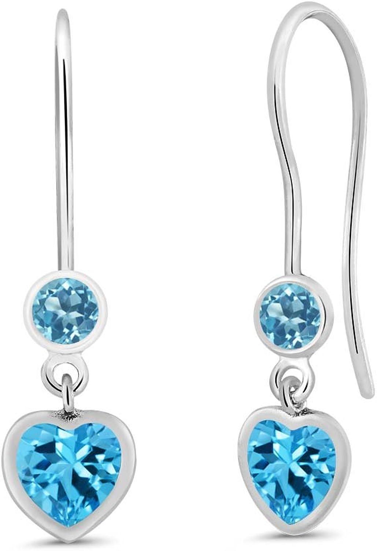 1.42 Ct Heart Shape Swiss bluee Topaz 925 Sterling Silver Earrings