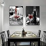 Bodegón blanco y negro arte abstracto botella de vino imagen de pared para decoración nórdica del hogar lienzo pintura-40x60cmx2 sin marco