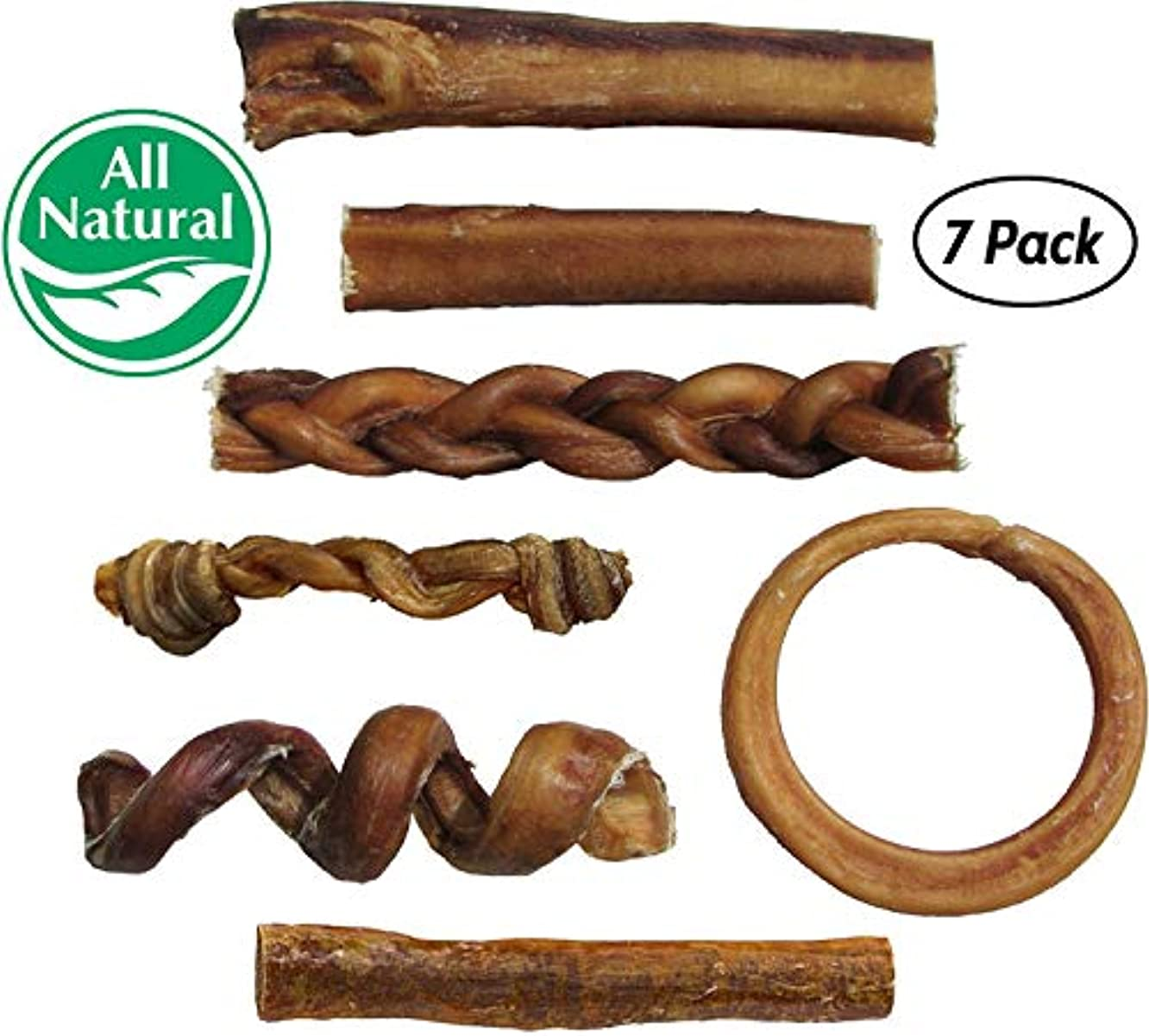 Bully Stick Variety Pack for Dogs | Best Mix of Natural Low-Odor Beef Stix | Pizzle Dental Treat Chews: Straight, Braided, Ring, Spring, Barbell, Pretzel, etc.