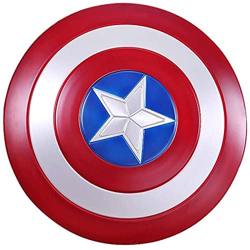 HLWJXS Capitán América Costume Space Quality 7075 Escudo de Metal con Soporte de Madera Adulto Talla única 1: 1 Serie Legends Accesorios de película 60CM / 23.6INCH