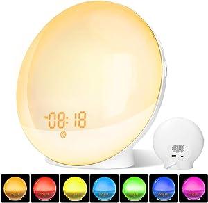 Wake Up Light, Luz Despertador LED con Dual Relojes de Alarma, Función de Ayuda para Dormir, Radio FM, Función Snooze, 8 Sonidos de Alarma, 7 colors de Luces de Ambiente, Cable USB+Adaptador(Incluido)