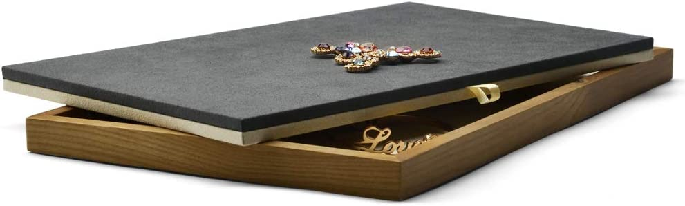 Award Oirlv Solid Wood Jewelry Display with Two-Color Convertible Columbus Mall Tray