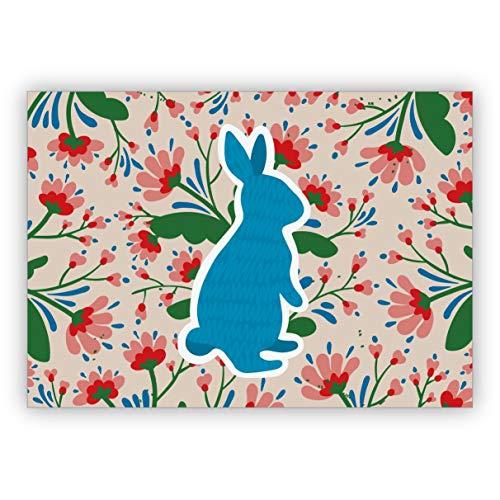 Set 4x Entzückende florale Osterkarte mit Scherenschnitt Hase, blau auch als Geburtstag Grußkarte • schöne Glückwunsch Geschenk-karten mit Umschlägen geschäftlich & privat