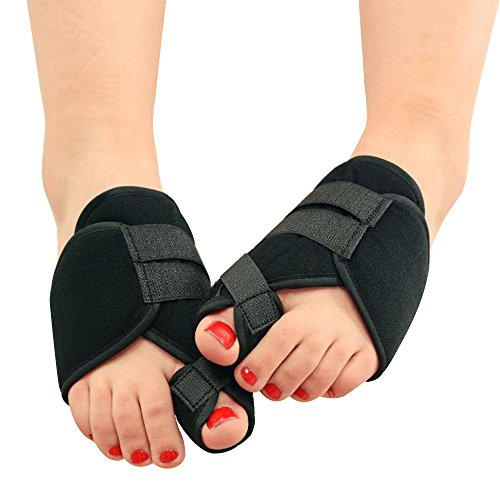 Happy Hours - 1 Pair Night Use Unisex Hallux Valgu Bunion Braces/Toe Protection Splint Corrector/Two Toes Adjuster Straightener Shoe-pad for Sports Foot Pain(Size M)
