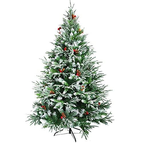 ASDF 6.8ft Schneebeflockter künstlicher Weihnachtsbaum Premium Baum mit faltbarem Metallständer Tannenzapfen Rote Beeren Indoor Outdoor-grün 6.8ft