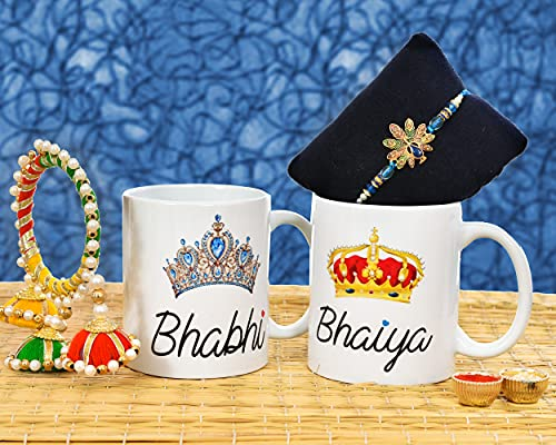 Occasion Era Raksha Bandhan Gift for Bhaiya Bhabhi Rakhi Lumba Rakhi for Brother and Bhabhi with Set of 2 Printed Coffee Mug, Roli...