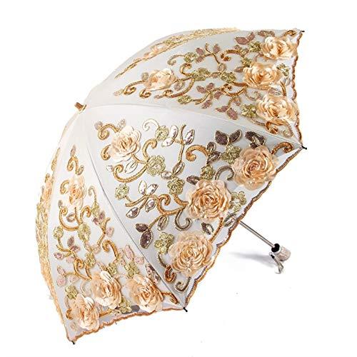 Flor Retro Sombrilla soleada y lluviosa Rose Rose Girl Plegable Durable Paraguas Portátiles Automatic Rain Get El Paraguas Lindo 318 (Color : Beige)