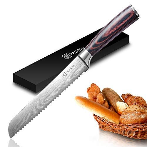 PAUDIN Profi 20cm Brotmesser mit Wellenschliff aus hochwertigem Rostfreier Edelstahl, Extra Scharfe Messerklinge mit ergonomischer Griff