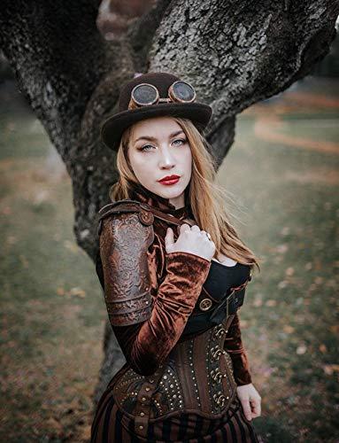 Steampunk mosquetero armadura de hombro de cuero hombrera de cuero diesel punk páramo armadura de hombro Burning Man protector larp distópico