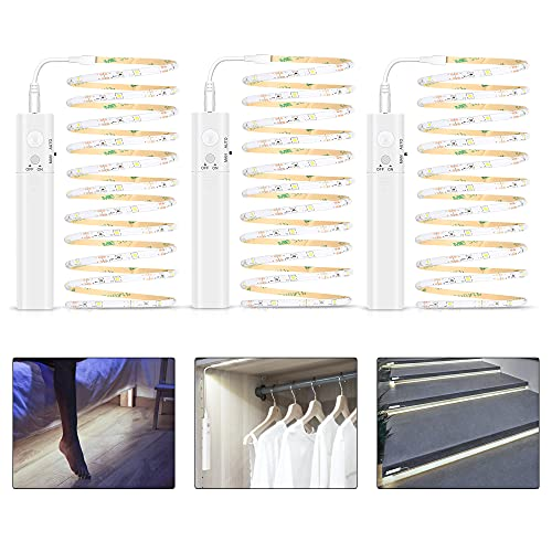 Tira de Luces LED con Sensor de Movimiento, 3Pack 1M Tira Luz Cuerda Pilas Recargable, 3500K Blanco Frio Luz Armario Luz LED Nocturna para Habitaciones de Niños, Dormitorios, Escaleras, Baño, Pasillo