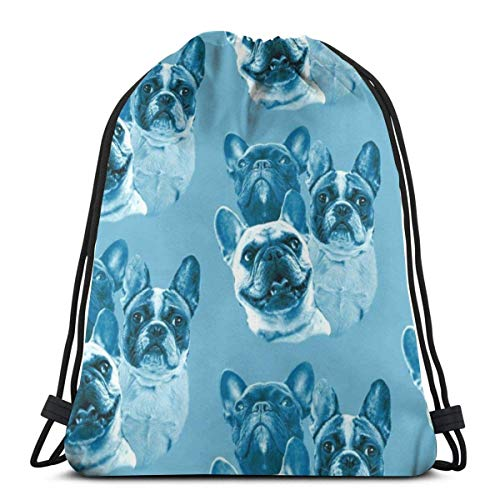 Aqua Frenchies Fabric 3D Print Drawstring Backpack Rucksack Shoulder Bags Sports Gym Bag For Adult 16.9'X14'inches
