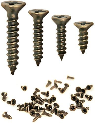 FUXXER® - 100x Antike Holz-Schrauben, Messing Bronze Antik-Optik, Kreuz-Schlitz, Kreuz-Schrauben, Senk-Kopf, Selbst-Schneidend, 100er Set (2 x 8 mm)