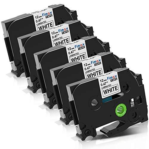 Fimax Kompatible Schriftband als Ersatz für Brother tze-231 tze231 tz231 Schriftband 12mm 0.47 für P-touch h100lb h100r h101 h101c h105 pt-1010 ptouch pt d400vb / Schwarz auf Weiß