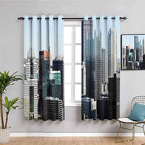 LucaSng Blackout Curtain Thermal Insulated - Blue sky tall building - 92x54 inch for Bedroom Kitchen Living Room Boy Girl Window - 3D Digital Printing Eyelet Ring Curtain
