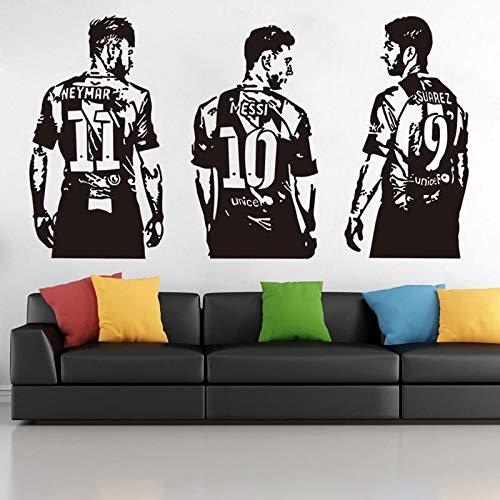 Lionel Messi Suarez Neymar Barcelona FC Trident Super Star fútbol deportes calcomanía etiqueta de la pared cartel niño dormitorio decoración DIY regalo