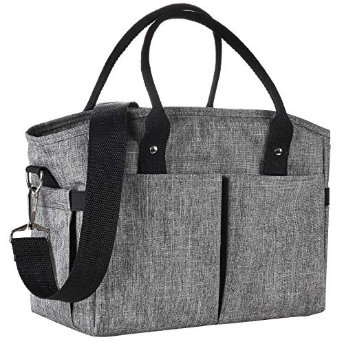 Lunch Box Large Lunch Bag, Thermal Cooling Tote Insulated Lunch Bags with Shoulder Strap for Women Men Adults College Work Picnic Hiking Beach Fishing (Gray)