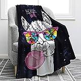 Jekeno Cartoon Alpaca Llama Blanket Soft Warm Print Throw Blanket for Kids Adult Office Gift 50'x60'