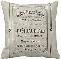枕カバーを投げるヴィンテージ広告フランスの香水広告パリフランスシックな装飾枕ケース家の装飾正方形20x20インチ枕カバー