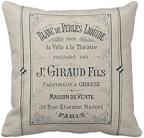 BONRI Throw Pillow Cover Vintage Anuncio Perfume francés Anuncio Paris Francia Elegante Funda de Almohada Decorativa Decoración para el hogar Funda de Almohada Cuadrada, 17'x 17'
