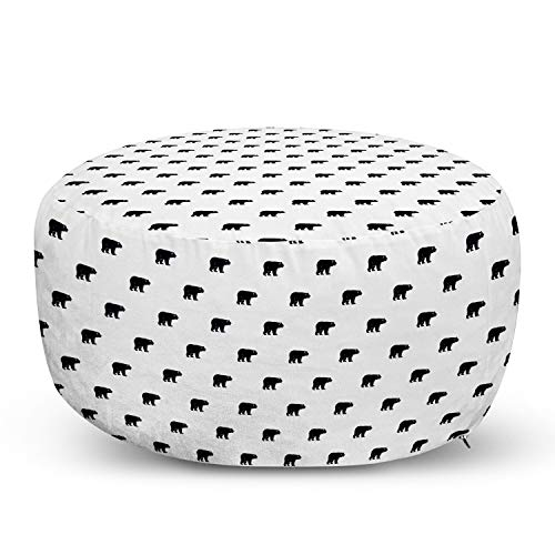 Ambesonne Bear Pouf Cover with Zipper, Repeating Wild Animal Pattern Monochrome Style Furry Carnivore of Wilderness, Soft Decorative Fabric Unstuffed Case, 30' W X 17.3' L, Black and White