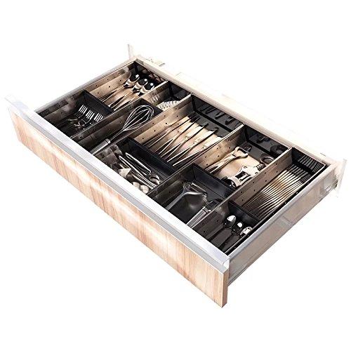 ÚNIKA+ [Stainless Steel] Cutlery Tray Adjustable Utensil Organizer Flatware Drawer Dividers Kitchen Storage Organizer (Short-Wide)