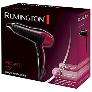 Remington Ionen-Haartrockner Pro-Air Dry D5950 (2200 Watt, Ionen-Generator für verstärkten Glanz, leistungsstarker und langlebiger Motor, 3 Heiz- & 2 separate Gebläsestufen + Abkühlstufe, Stylingdüse)