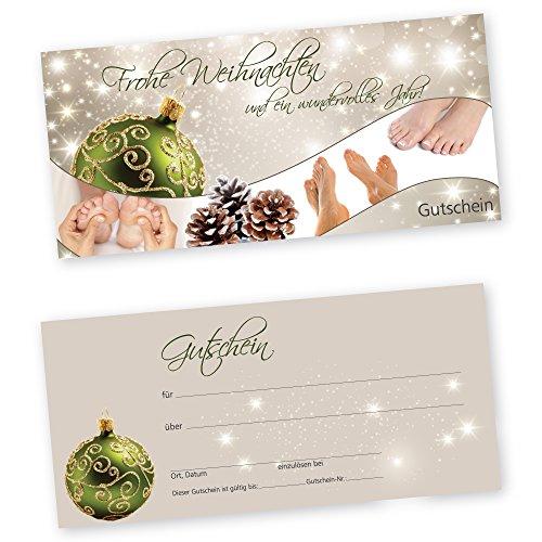 50 Weihnachtsgutscheine Gutscheinkarten XMAS STARS GREEN FUßPFLEGE für Fußpflegestudio Gutscheine Geschenkgutscheine