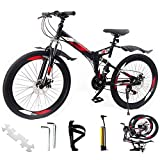 GENCH 26' Inches 21-Speed Folding Mountain Bike for Adult MTB Spoke Wheels Bike with Installation Tool Pump Black wihte
