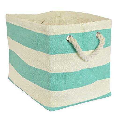 DII, Papelera de almacenamiento de papel tejido, plegable, 11 x 10 x 9 pulgadas, Rugby Aqua, pequeña papelera