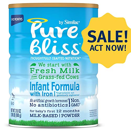 Pure Bliss by Similac Infant Formula, Modeled After Breast Milk, Non-GMO Baby Formula, 31.8 ounces, 4 count