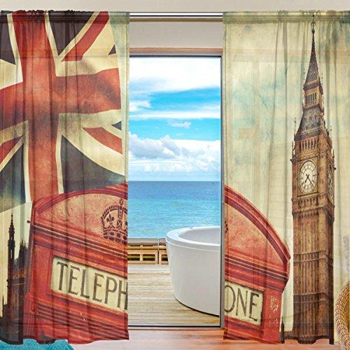 FFY Go Sheer Voile Fenster Vorhang Union Jack Uk Flagge Big Ben Bedrucktes Weiches Material Für Schlafzimmer...