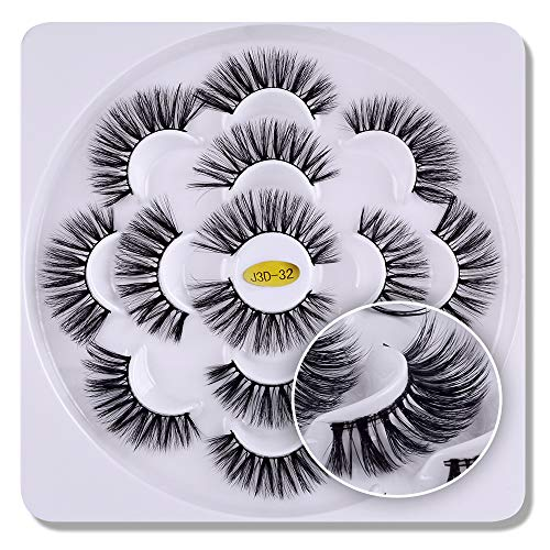 7 paires 3D cils vison Fluffies à la main Wispies Styles mélangés Naturel Longs Faux Cils(10)