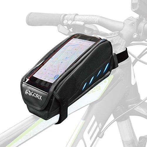GORIX(ゴリックス) 自転車用 防水 撥水 仕様 トップチューブバッグ GX-P27 (ブラック)