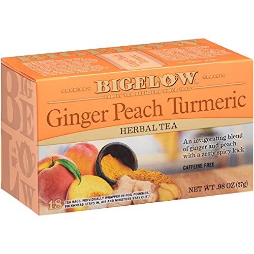 Bigelow Tea Ginger Peach Turmeric Herbal Tea Bags, 18 Count Box (Pack of 6) Caffeine-Free Herbal Tea, 108 Tea Bags Total