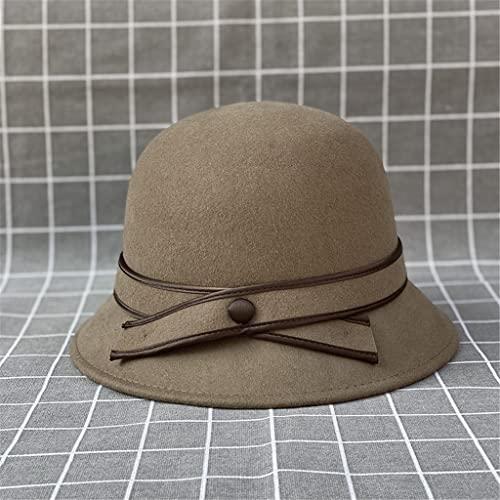 LEPSJGC Mujeres otoño invierno cubeta sombrero elegante ancho alza pescador gorras señoras fieltro fieltro sombrero gorra for las mujeres (Color : Camel, Size : One size)