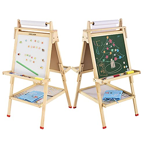 USELUCK Kids Easel with Paper Roll,Double-Sided Drawing Easel-Dry Erase Board & Chalkboard Standing Adjustable Height Drawing Easel Board,Children Easel Paint Set (S)
